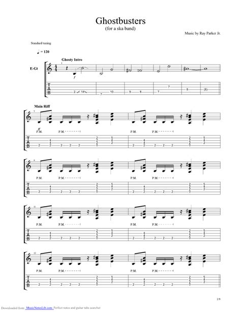 Ghostbusters Theme guitar pro tab by Misc Soundtrack